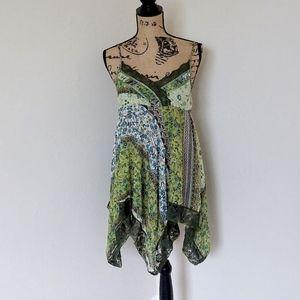 Dresses & Skirts - Olive Green Floral Boho Lace Tank Mini Dress